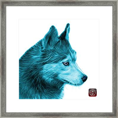 Framed Print featuring the painting Cyan Siberian Husky Art - 6048 - Wb by James Ahn