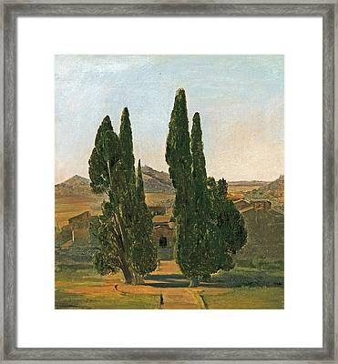 Cypress Trees At The Villa D'este Framed Print by Charles Lock Eastlake