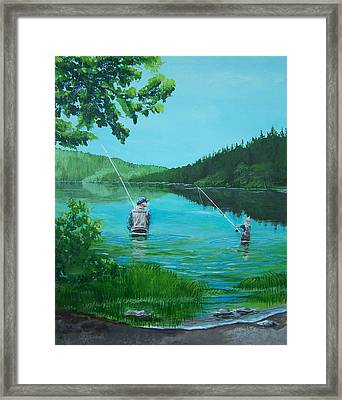 Dad And Son Fishing Framed Print by Gene Ritchhart