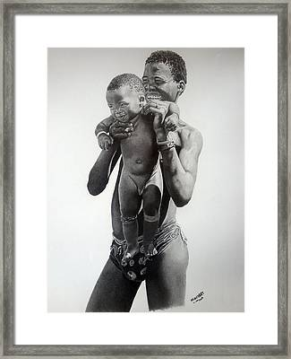 Daddy's Boy Framed Print by Lemington  Muzhingi