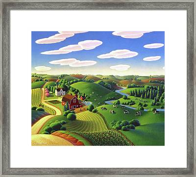 Framed Print featuring the painting Dairy Farm  by Robin Moline