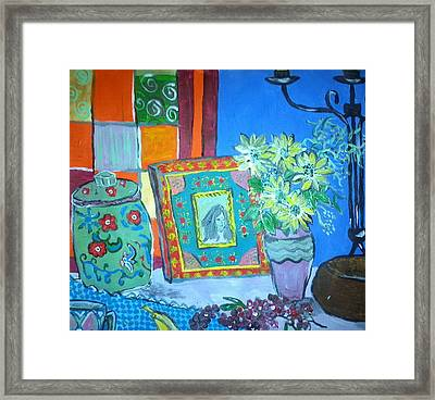 Daisies Fennel And Red Peppercorns Framed Print by Julie Butterworth