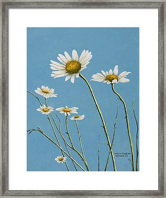 Daisies In The Wind Framed Print by Mary Ann King
