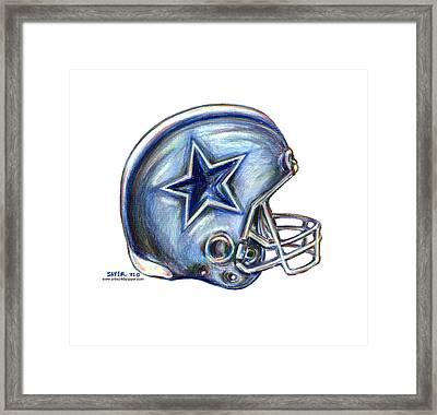 Dallas Cowboys Helmet Framed Print by James Sayer