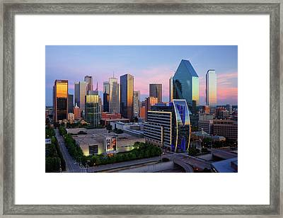 Dallas Skyline At Dusk Framed Print by Jeremy Woodhouse