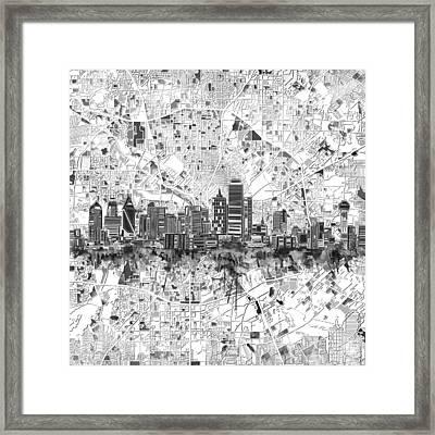 Dallas Skyline Map Black And White 5 Framed Print