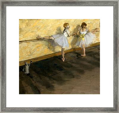 Dancers Practicing At The Bar Framed Print