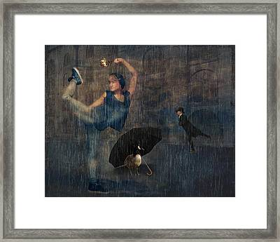Dancing In The Rain Framed Print