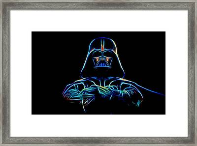 Framed Print featuring the digital art Darth Vader by Aaron Berg