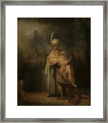 David And Jonathan Framed Print by Rembrandt