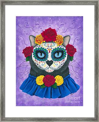 Framed Print featuring the painting Day Of The Dead Cat Gal - Sugar Skull Cat by Carrie Hawks
