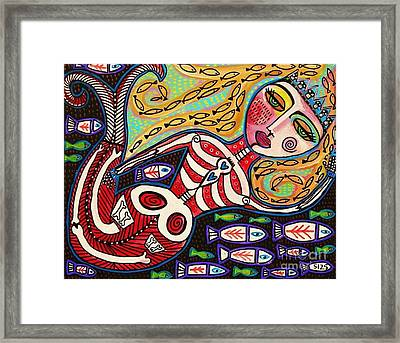Day Of The Dead Red Skeleton Mermaid Framed Print by Sandra Silberzweig