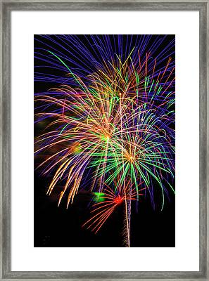 Dazzling Fireworks Framed Print by Garry Gay