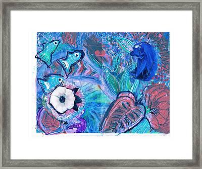 De Bear No Lookee De Fish Get Wey Framed Print by Anne-Elizabeth Whiteway