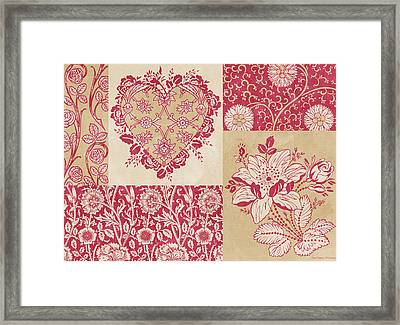 Deco Heart Red Framed Print