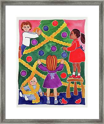 Decorating The Christmas Tree Framed Print by Cathy Baxter