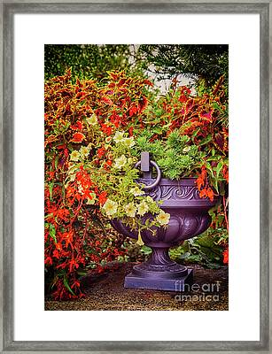 Framed Print featuring the photograph Decorative Flower Vase In Garden by Ariadna De Raadt