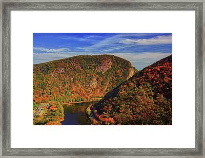 Delaware Water Gap In The Fall Framed Print by Raymond Salani III