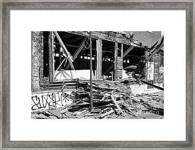 Demolishing Stucco Corrugated Iron Clad Wood Framed Building Reykjavik Iceland Framed Print