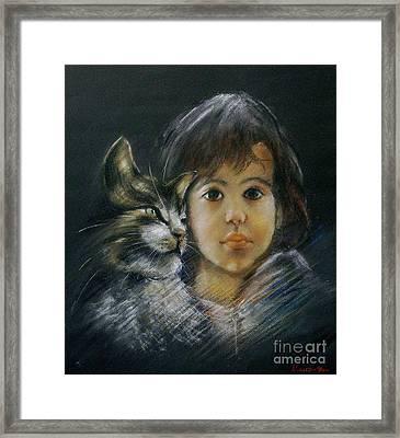 Denese And Cat Framed Print