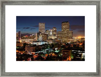 Denver Evening Skyline Framed Print by Steve Mohlenkamp