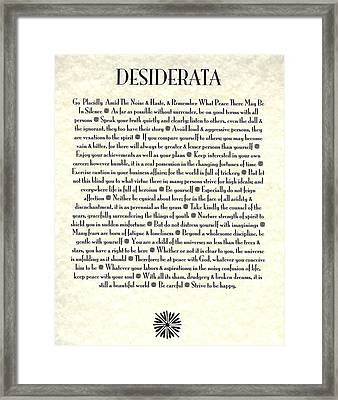 Desiderata 17 Framed Print by Desiderata Gallery