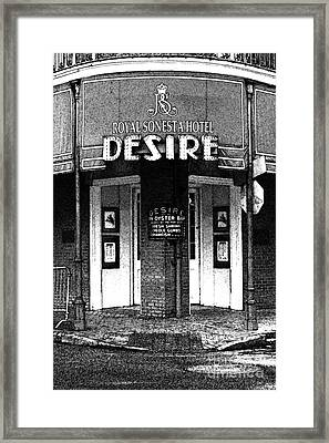 Desire Corner Bourbon Street French Quarter New Orleans Black And White Fresco Digital Art Framed Print by Shawn O'Brien
