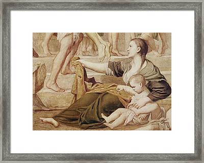 Detail Of Saint Cecilia Distributing Alms Framed Print by Domenichino