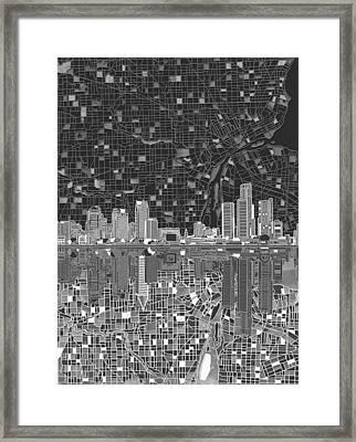 Detroit Skyline Map 5 Framed Print