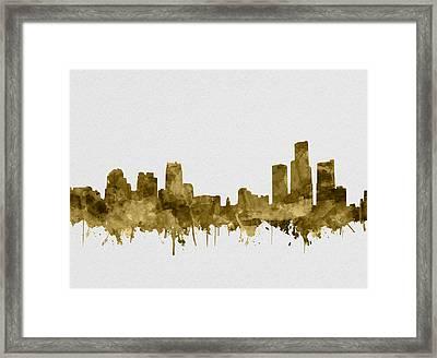 Detroit Skyline Watercolor Sepia Framed Print