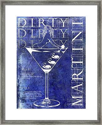 Dirty Dirty Martini Patent Blue Framed Print