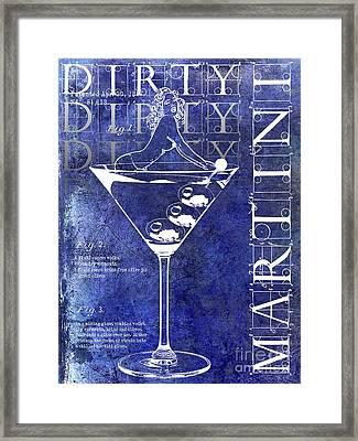 Dirty Dirty Martini Patent Blue Framed Print by Jon Neidert