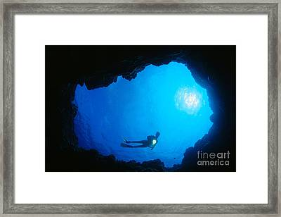 Diver At Cavern Entrance Framed Print by Dave Fleetham - Printscapes