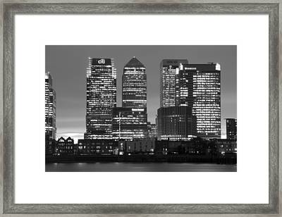 Docklands Canary Wharf Sunset Bw Framed Print by David French
