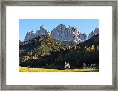 Dolomites Mountain Church Framed Print