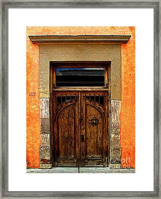 Door In Terracotta Framed Print by Mexicolors Art Photography