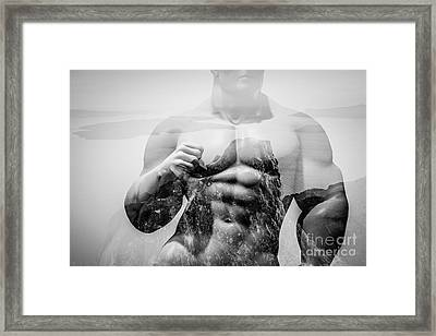 Double Exposure Of Strong Map On Rocks And Ocean Landscape Framed Print