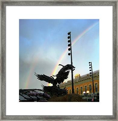 Double Rainbow Over Old Town Square Framed Print