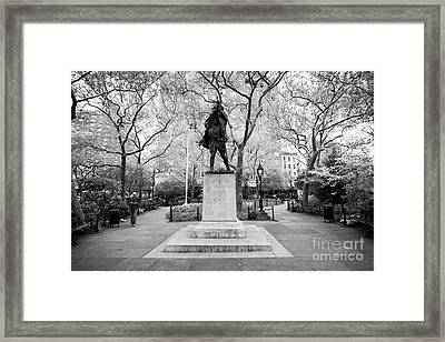 doughboy statue in abingdon square park greenwich village New York City USA Framed Print