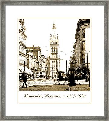 Downtown Milwaukee, C. 1915-1920, Vintage Photograph Framed Print