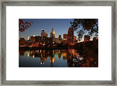 Downtown Minneapolis At Night Framed Print