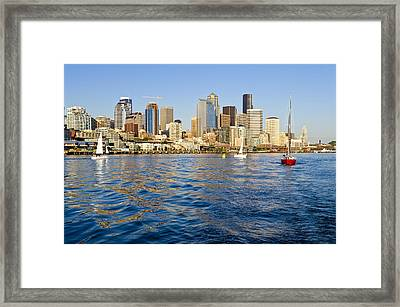 Downtown Seattle Sailing Framed Print by Tom Dowd