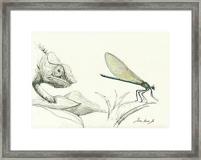 Dragonfly With Chameleon Framed Print by Juan Bosco