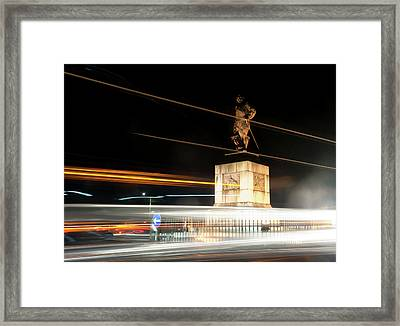 Drake's Statue Traffic Trails Iv Framed Print