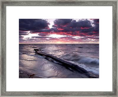 Drama Over Lake Erie Framed Print