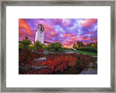 Dramatic Autumn Sunrise At Boise Depot In Boise Idaho Framed Print