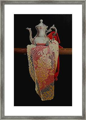 Draped Tea Service Framed Print