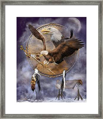 Dream Catcher - Spirit Eagle 2 Framed Print by Carol Cavalaris