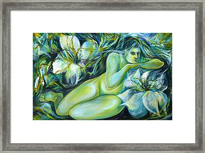 Framed Print featuring the painting Dreaming Flower by Anna  Duyunova