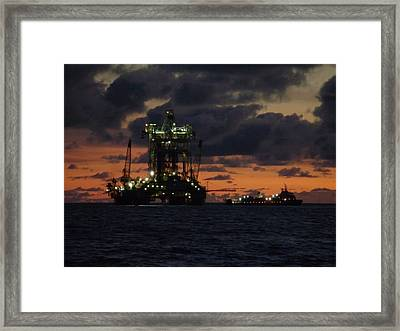Framed Print featuring the photograph Drill Rig At Dusk by Charles and Melisa Morrison